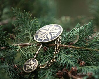"""In Stock! Ready to Ship! Brass Clasp; Pin """"Secret Garden""""; Oval Brooches"""