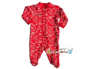 Red Baby's First Christmas Print Sleeper Pajama, Christmas Tree, Reindeer, Snowflakes, Candy Canes Pajamas with feet, PJs, Sleep and Play