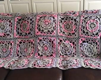 SUMMER SALE Handmade knit throw afghan blanket unique womens designer mandala lace flower crochet chair cover bed spread hippie lapghan grey