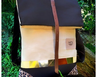Wild cat backpack, WATERPROOF upcycled canvas and leopard pattern leather rolltop bike backpack. Beige, gold, tan lack leather mosaic inlaid