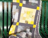 Yellow and Gray Checkerboard Patchwork Quilt