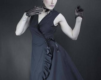 summer day dress, Black poplin