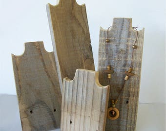 Set of 4 Necklace Stands Rustic Wood Necklace Display Weathered Reclaimed Wood Take Down Design for Craft Shows