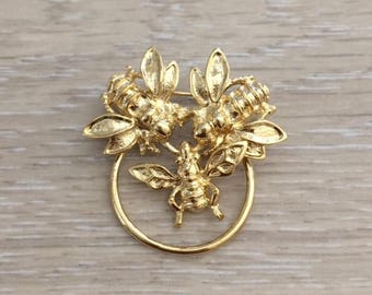 Vintage Gold Bug Brooch, Gold Brooch, Scarf