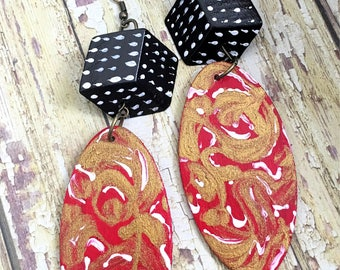 Abstract Art Earrings, Wooden Handpainted Jewelry, Modern Swirl Art