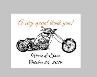 100 Personalized Custom Harley Davidson Motorcycle Wedding Thank You Cards and Envelopes