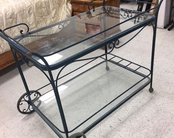 Mid century Wrought iron bar/palnt cart....Local pick up only!!