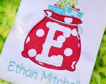 Santa's Bag Monogram - Christmas Custom Tee Shirt - Customizable