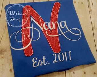 Great Christmas Gift - Custom Grandparent's Nickname shirt - Established in shirt 155 red blue