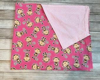 Pink Monkey Cuddle Blanket