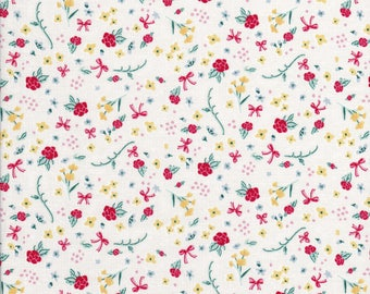 Tiny Red Floral Fabric - Tiny Yellow Floral Fabric - Tiny Red Bows - Tiny Florals - Bunnies and Cream - Penny Rose