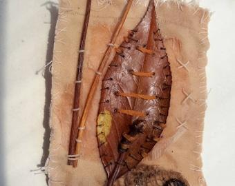 ACEO original textile muted tones encaustic waxed tea bag hand stitched ATC nature memento mixed media art buttons