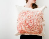 Cabbage illustration on cushion cover in coral-orange watercolor printed on soft cotton linen