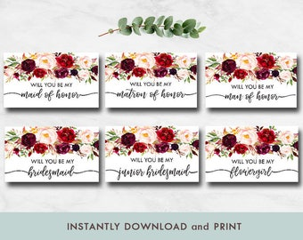 Bridesmaid Proposal Greeting Card, Will you be my bridesmaid, Floral bridesmaid proposal card, Man of Honor, Maid of Honor, Matron of Honor