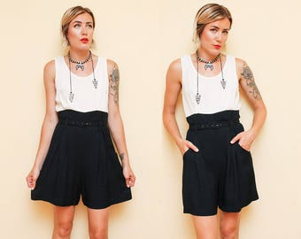 Black White Romper // Belted Tank Top Jumper // 90s High Waist Sleeveless Simple Jumpsuit Color Block Size Small 8 10