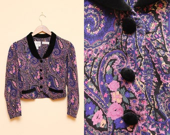 Paisley Blazer // Floral Crop Top // 80s Long Sleeve Short Jacket Purple Pink Velvet Collar Puffy Sleeve Size Small