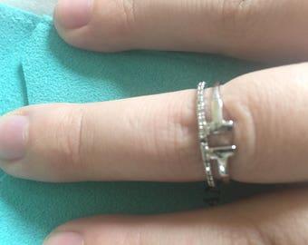 Tiffany T look alike ring with CZs