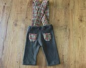 Newborn Photography Overalls - Upcycled Soft Knit Brown Pants with Brown, Tan, & Orange Plaid Suspenders With Butt Pockets -Ready To Ship