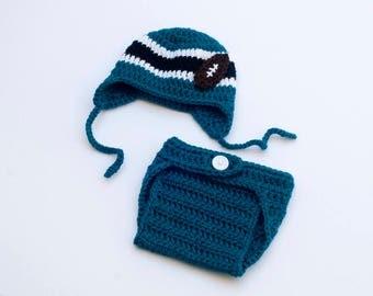 BABY BOY CLOTHES, Baby Football Hat, Crochet Football Hat, Newborn Football Gifts, Baby Boy Hats, Teal Football, Baby Knit Football Photo