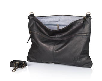 Black leather messenger bag - soft leather purse SALE Crossbody leather purse - shoulder leather bag - slouchy leather bag - judtlv bags