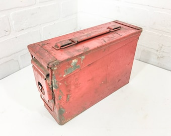 Vintage EMCO Military Ammo Box Can Red Painted Metal Craft Storage