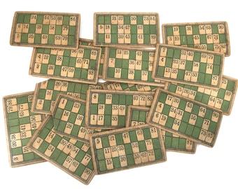 Set of 20 Vintage Bingo Cards, Ephemera Craft Supplies, Scrapbooking, Playing Card, Retro Games