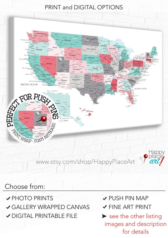 Push Pin USA Map Customised US Map City State Labels US - Us map with state labels