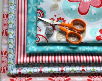 Fat Quarter Fabric Bundle/5 Fabrics/Twice As Nice/Red and Aqua/Stripes, Flowers/Quilting, Clothing, Craft/Cotton Sewing Material/Riley Blake