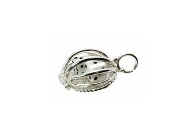 Sterling Silver Opening Dice In Cage Charm For Bracelets
