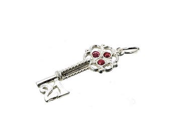 Sterling Silver 21st Red Crystal Set Key Charm For Bracelets