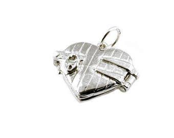 Sterling Silver Opening Lover's In Heart Locket Charm For Bracelets