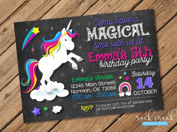 Printable Rainbow Birthday Invitations ~ Unicorn chalkboard invitation magical unicorn party rainbow
