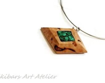 Malachite Wood Necklace - Wood  Malachite Pendant - Malachite Wood Resin Necklace - Boho Jewelry Gift - Wood Gemstone Jewelry - Abstract