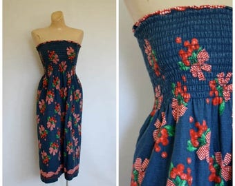 Sale Vintage Strapless Cherry Dress / 1970's Tube Top Dress / Vtg 70s Sun Dress / Vintage Festival Dress / Strapless Berries n Bows Dress  S