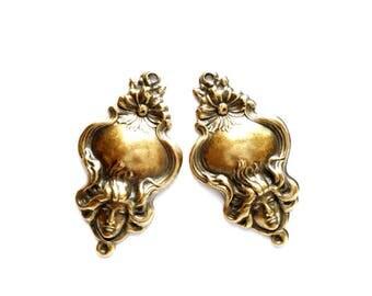 2 Antique Brass Maiden Charms - 21-54