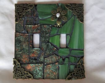 Greens in glass mosaic switch plate!