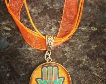 Hamsa Hand Pendant on Orange Organza Necklace
