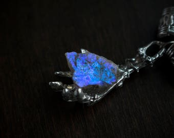 The Oracle • Angel aura quartz crystal fused onto a skeleton charm (1 necklace)
