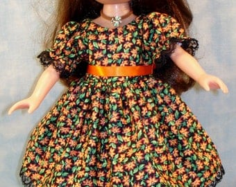 14 Inch Doll Clothes - Tiny Orange Floral on Black Fall Dress handmade by Jane Ellen