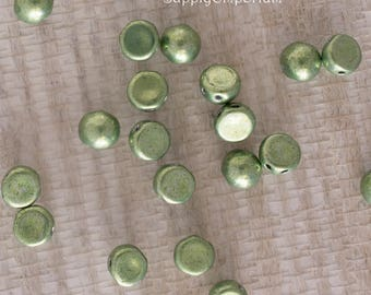 7mm Saturated Metallic Greenery CzechMates Cabochon, 7mm Metallic Greenery Cabochon, 9 Grams, 5170 Metallic Green 7mm Cabochon