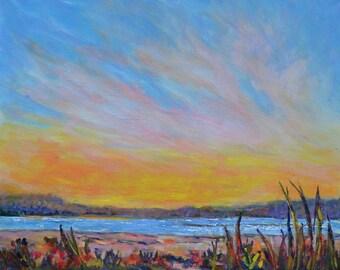 Plum island sunset, New England landscape, Beach painting, Original sunset painting, Large acrylic landscape, modern beach landscape, ocean