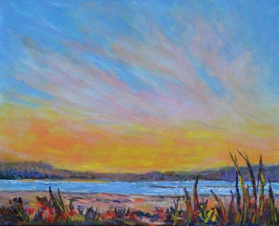 Plum island sunset, New England landscape, Beach painting, Original sunset painting, Large acrylic landscape, modern beach landscape, ocean