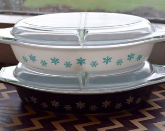 Vintage Pyrex SnowFlake Divider Dishes, Vintage Pyrex, Pyrex Snowflake Divider, Pyrex Turquoise Snowflake
