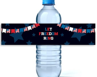 4th of July Water Labels- Personalized Label - 4th of July Decor - Independence Day - 4th of July - Water Bottle Labels - Let Freedom Ring