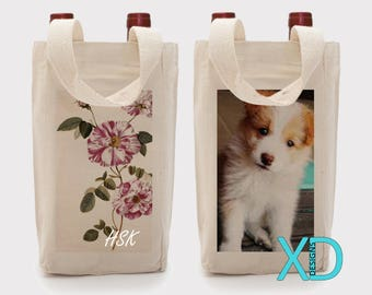 Personalized Double Wine Tote, Canvas Tote Bag, Beige, Custom Tote, Make Your Own Bag, Personalized, Monogram Tote, Wedding Gift, Christmas