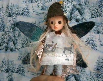 fairy doll fairy figure  woodland fairy  doll ooak christmans fairy winter fairy fairy tale