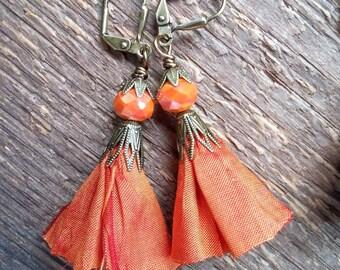 Tassel Earrings, Silk Ribbon Earrings, Ribbon Tassel Earrings, Bohemian Jewelry