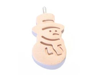 Ceramic Snowman, Clay Ornament, Bisqueware, Small Christmas Tree  Decoration, Home Decor,