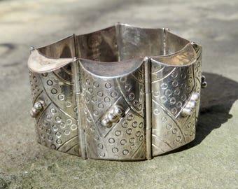 Taxco Silver Bracelet,Vintage Mexico Silver Cuff,Los Ballesteros Jewelry, Vintage Taxco Silver Jewelry,Signed Taxco Silver,Vintage Cuff