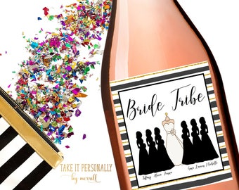 Will you be my bridesmaid wine bottle labels wedding party wine bottle labels, bride tribe labels, i do crew labels